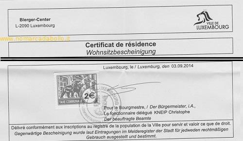 marca da bollo del Lussemburgo