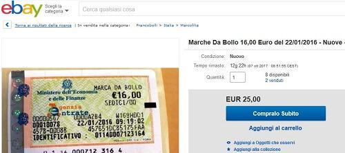 ebay marca da bollo da 16 euro